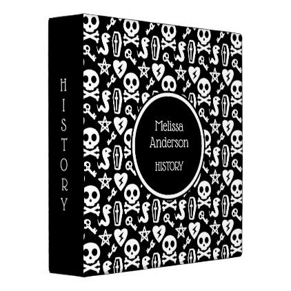 Black & White Cute Skull Goth Horror Pattern Name Binder - Halloween happyhalloween festival party holiday