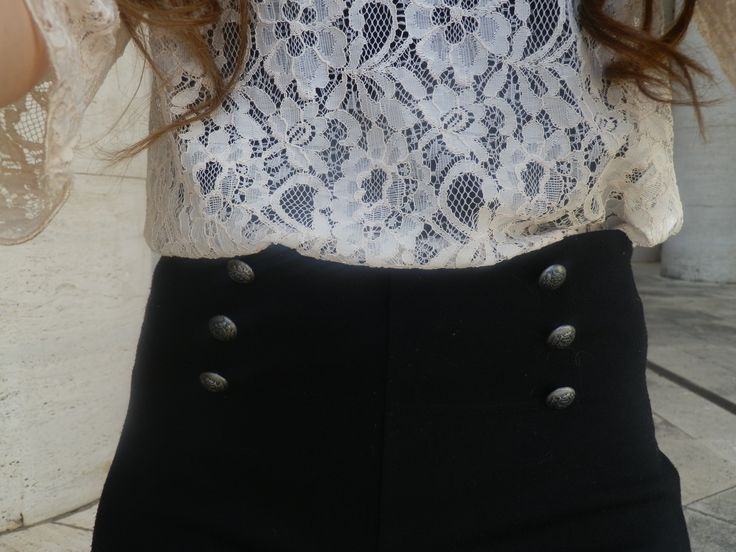 Fashion blogger's outfit featuring a lace top