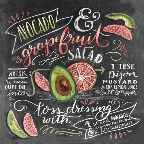 premium poster avocado grapefruit salat rezept englisch. Black Bedroom Furniture Sets. Home Design Ideas