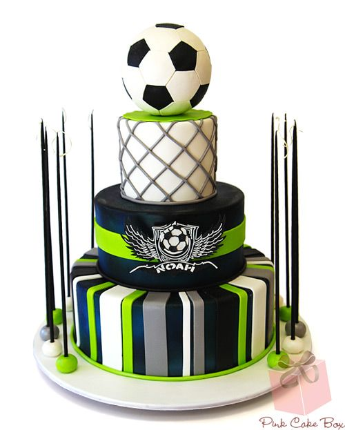 Noah's Soccer Themed Bar Mitzvah Cake by Pink Cake Box in Denville, NJ.  More photos and videos at http://blog.pinkcakebox.com/noahs-soccer-themed-bar-mitzvah-cake-2013-05-09.htm