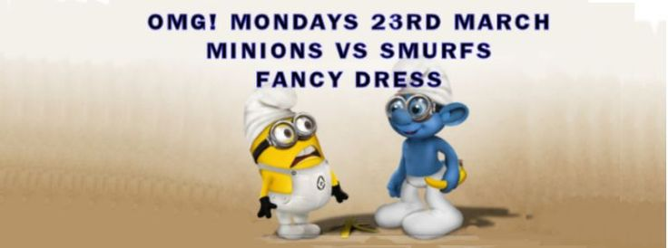 Don't miss OMG Mondays Minions vs Smurfs Fancy Dress Party on Monday March 23rd at Zee Bar, UCSU   Are you Yellow or are you Blue, are you a Minion or are you a Smurf!!  This is the last OMG! Mondays Party b4 the Easter Holidays, so don't miss it!