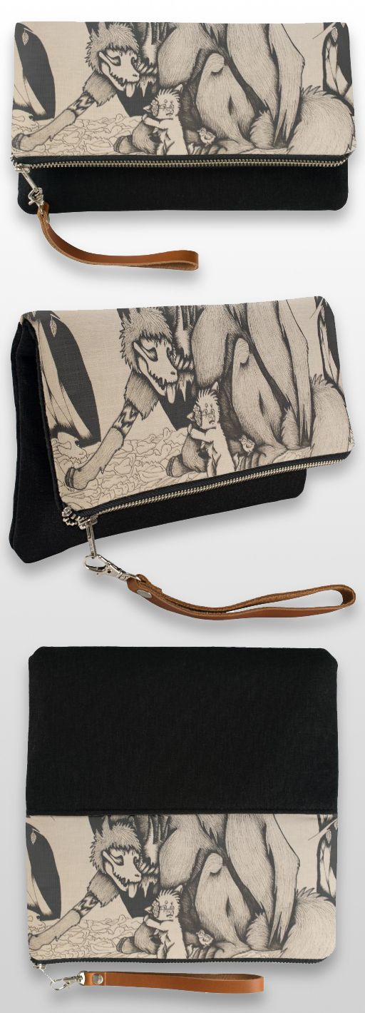 """""""Fear of the Living"""" Black and White Illustrated Canine Clutch Bag #products #gifts #art #illustration"""