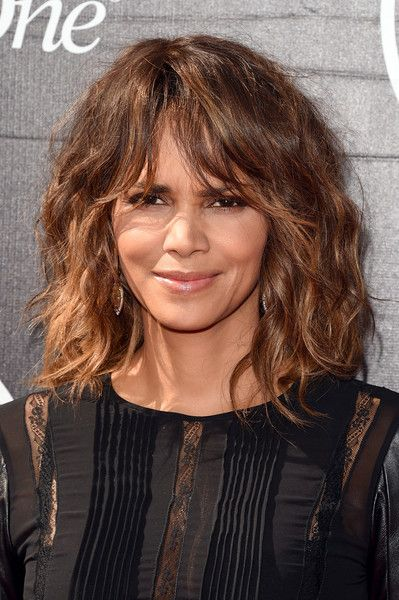 Halle Berry Medium Wavy Cut with Bangs - Shoulder Length Hairstyles Lookbook - StyleBistro