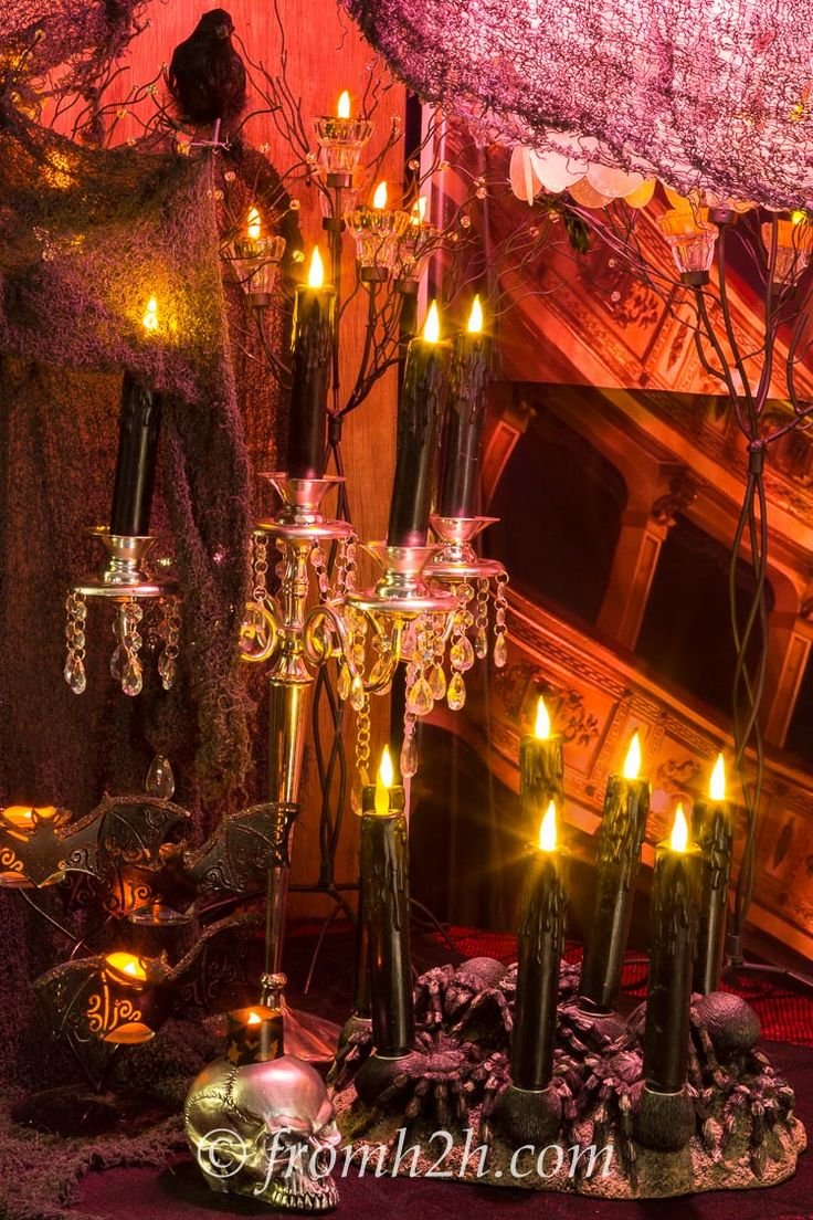 Halloween Candelabra | How To Make Your House Look Haunted | www.fromh2h.com