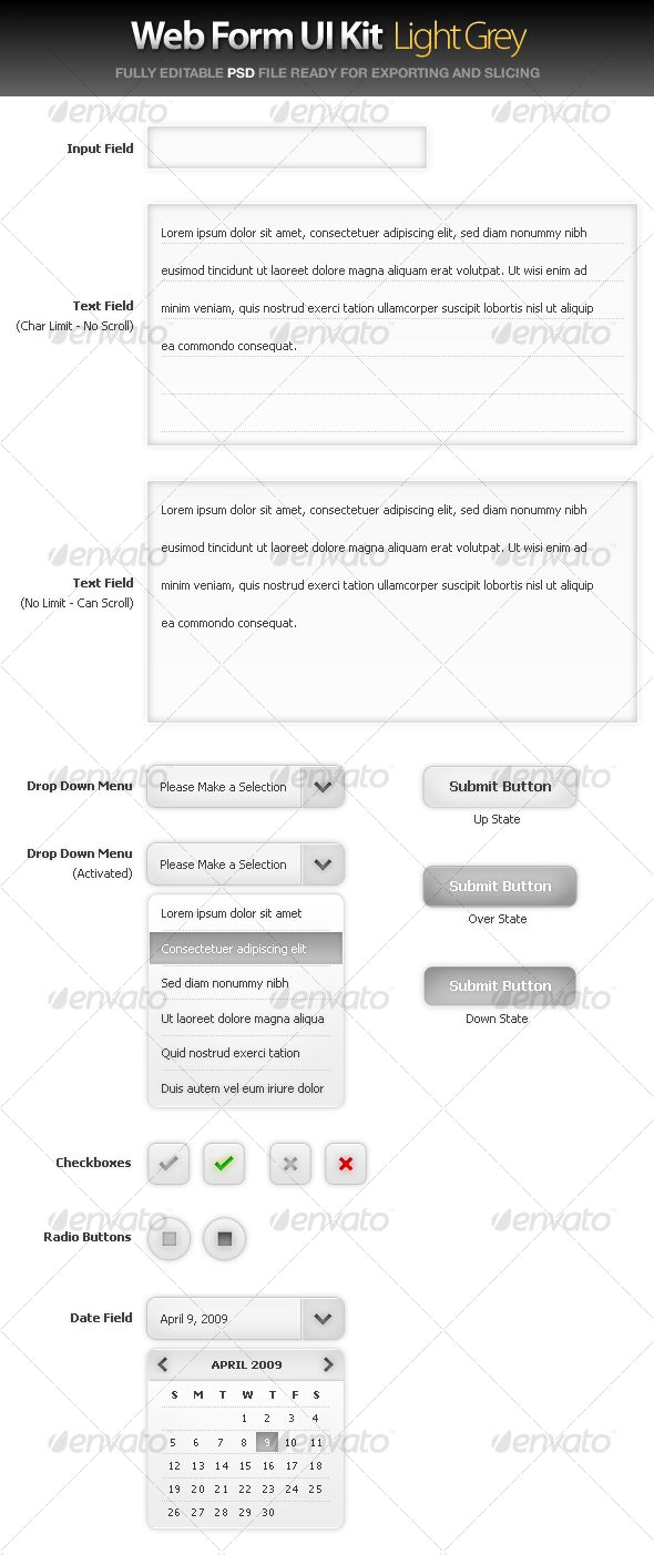 Web Form UI Kit - Large Grey - #User #Interfaces #Web #Elements Download here: https://graphicriver.net/item/web-form-ui-kit-large-grey/37349?ref=alena994