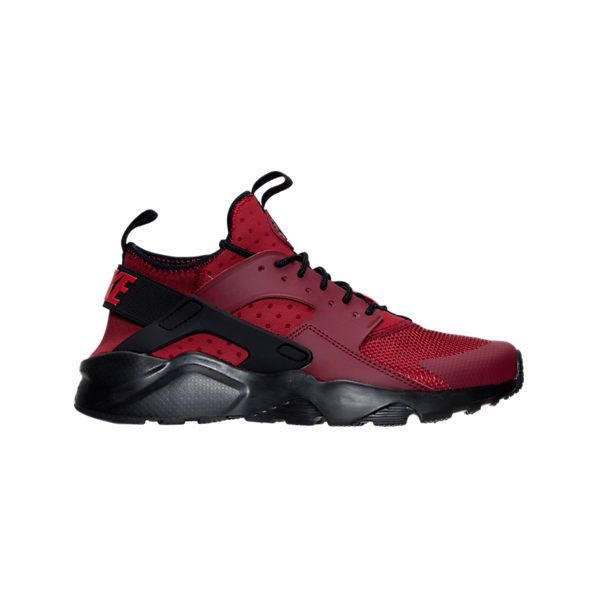 Nike Men's Air Huarache Run Ultra Running Shoes ($120) ❤ liked on Polyvore featuring men's fashion, men's shoes, men's athletic shoes, red, mens breathable shoes, nike mens shoes, mens perforated shoes and mens mesh shoes