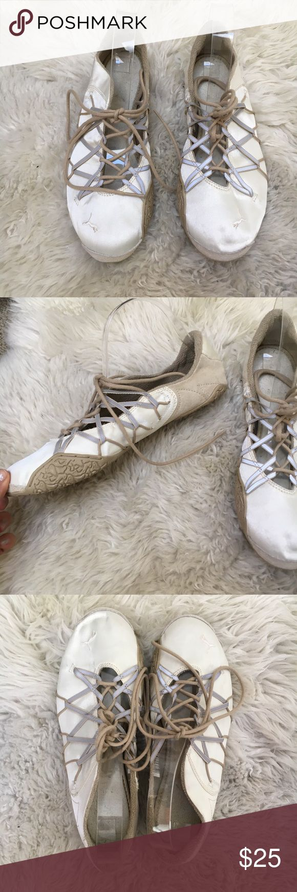 Puma Lace Up Ballerina Flats Beautiful shiny cream colored puma flats with laces. Excellent condition, very minimal signs of wear. Puma Shoes Flats & Loafers