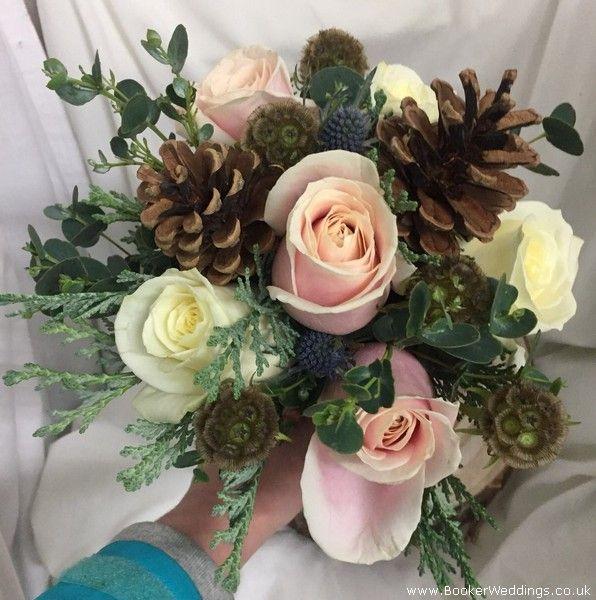 Gorgeous Rustic Winter Wedding Bride Hand Tied Bouquet Wedding Flowers Liverpool Merseyside Specialist Bridal Florist Flower Delivery Live Wedding Flowers