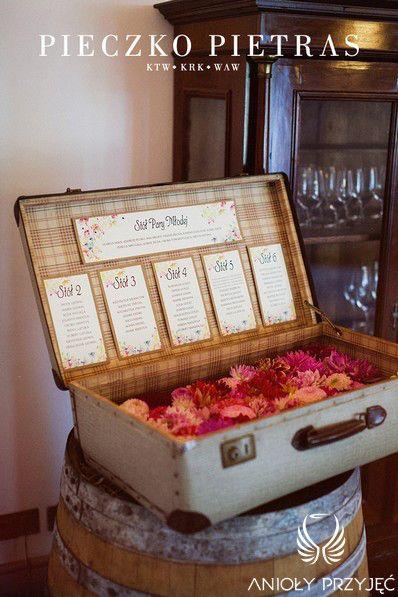 14. Electrical Wedding,Rustic,Table plan, Vintage suitcase / Elektryczne wesele,Rustykalne,Tablica z rozsadzeniem gości,Anioły Przyjęć