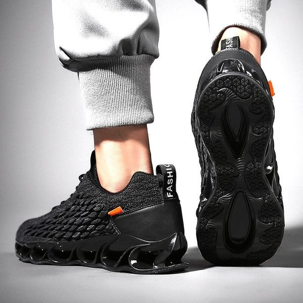 Mens Fashion Sneakers Shoes Black Outdoor Running Sports Mesh Breathable Gym