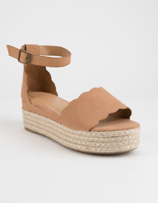 b8079494db7 BAMBOO Scallop Espadrille Tan Womens Platform Sandals | Shoes in ...