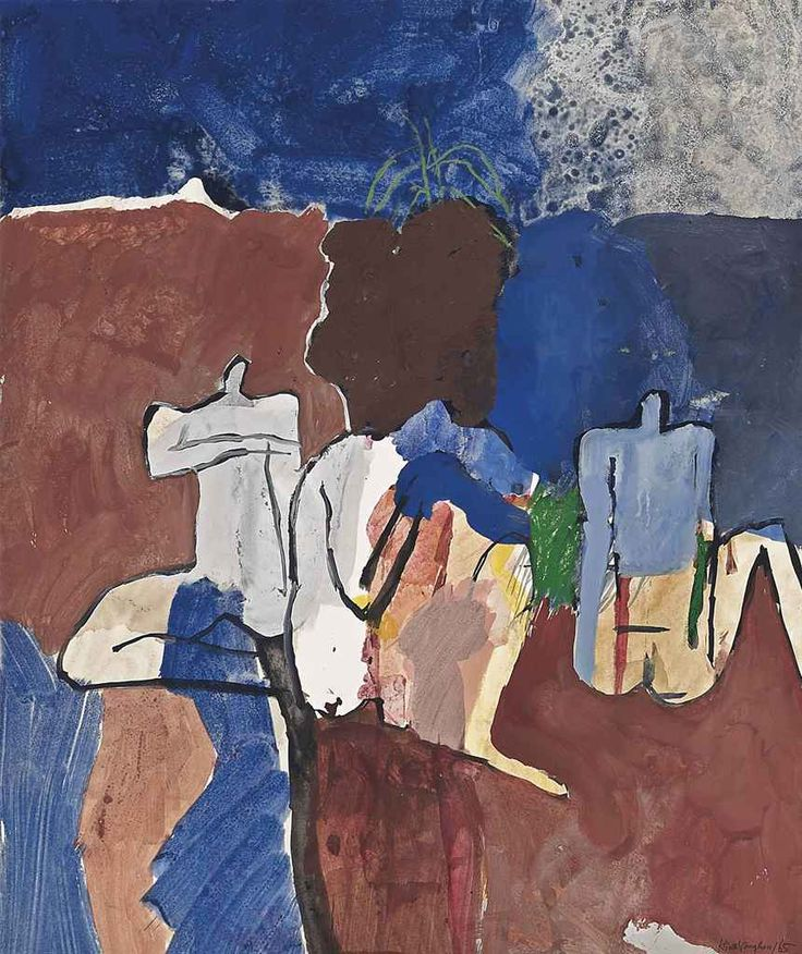 Keith Vaughan (British, 1912-1977), Bathers by the Reservoir: Marrakesh, 1965. Ink, pastel and gouache, 19 x 16 in.