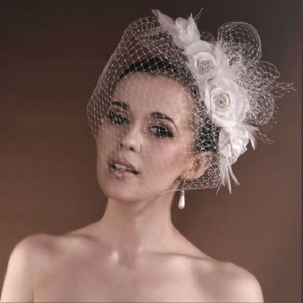 nocoiffe voilette fleurs strass headband crmonie coiffure marie chignon mariage bibi chapeau rtro - Bibi Mariage Voilette