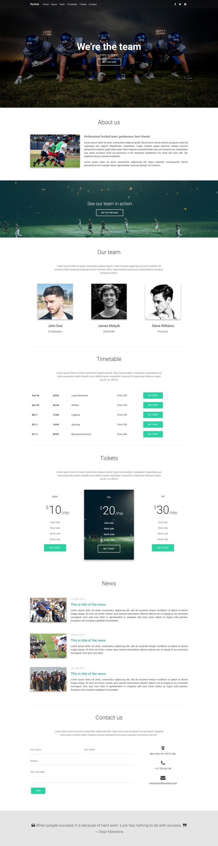 Team Portfolio Template created with Material Design for Bootstrap