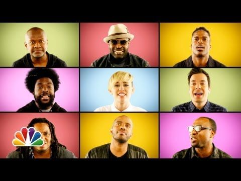 "Jimmy Fallon, Miley Cyrus & The Roots Sing ""We Can't Stop"" (A Cappella) // Yayyyy a video where Miley act respectably."