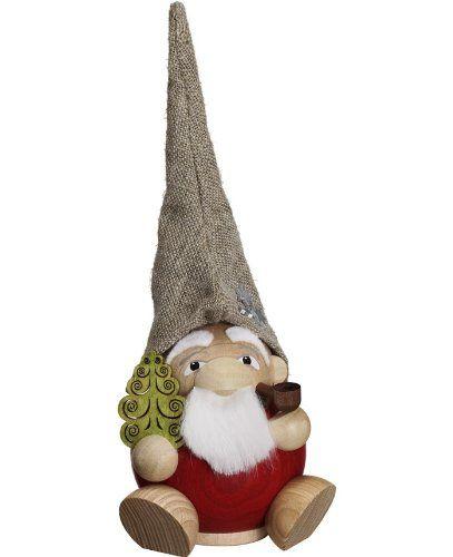 German incense smoker forest dwarf Santa Claus, height 19 cm / 8 inch, original Erzgebirge by Seiffener Volkskunst SV 19035