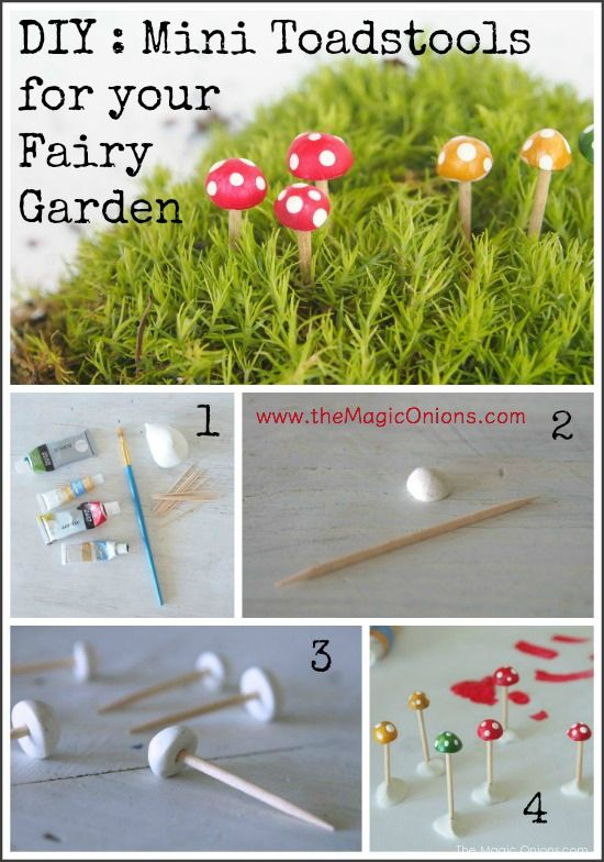 Make adorable mini toadstools for your fairy garden :: DIY tutoiral :: www.theMagicOnions.com