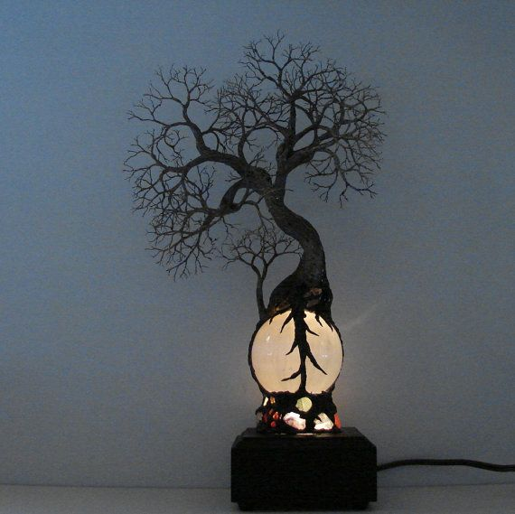 Full Moon Rising Tree Of Life Duo Spirits sculpture on White Selenite Sphere Gemstone Lamp, Wood base, Weddings, Anniversary gift ides