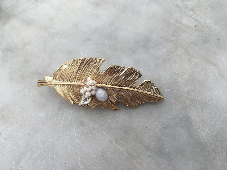 Golden Leaf with White beads