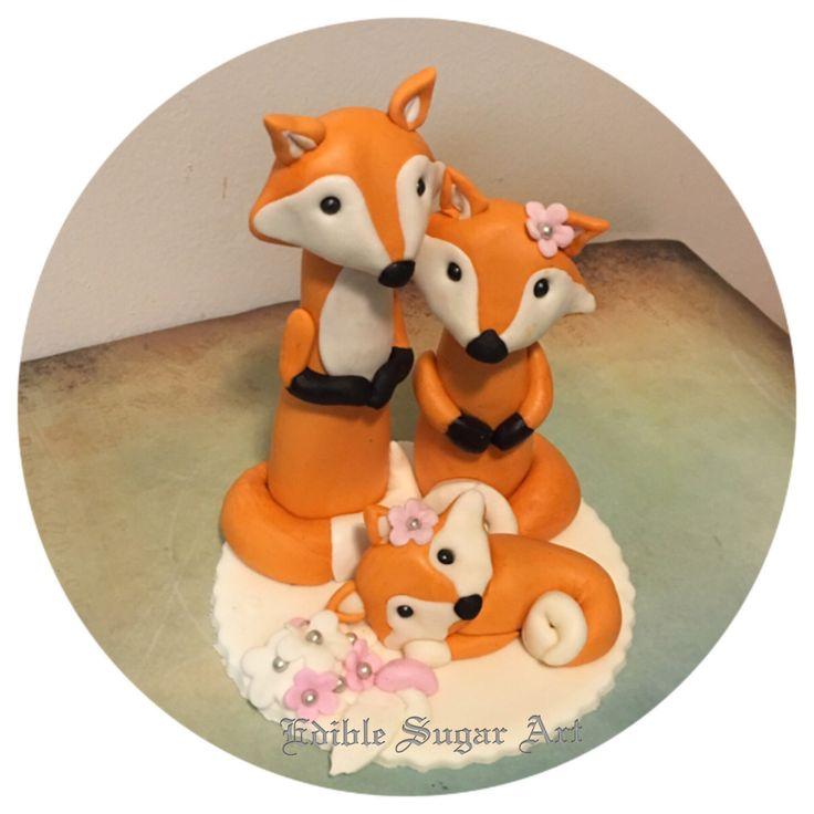 Woodland Fox Baby Shower Fondant Cake Topper Baby Girl