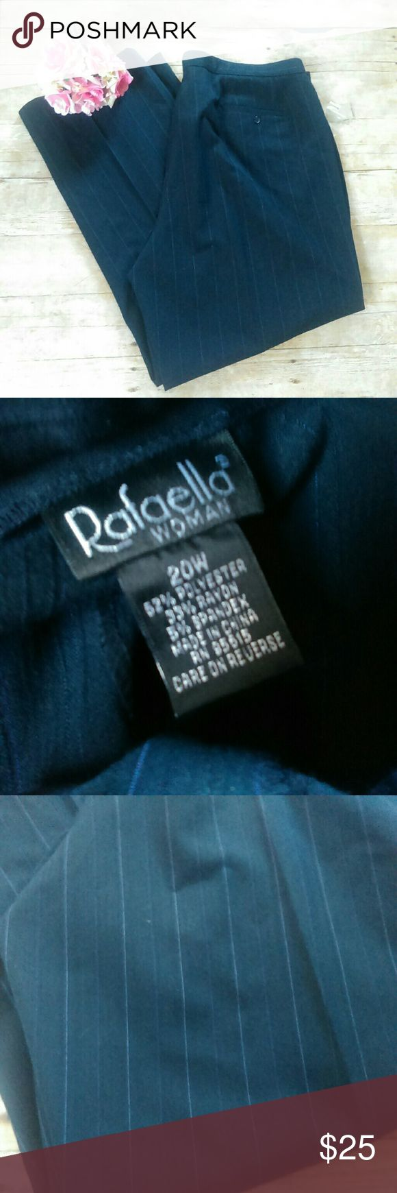 """NWOT Rafaella Pinstriped Trousers Size 20 W NWOT Rafaella Pinstriped Trousers Size 20 W Navy with blue pinstripes 62% Polyester, 33% rayon and 5% spandex Waist measures at 21"""" when flat Inseam measures at 32"""" Smoke and pet free home  #483 Rafaella Pants Trousers"""