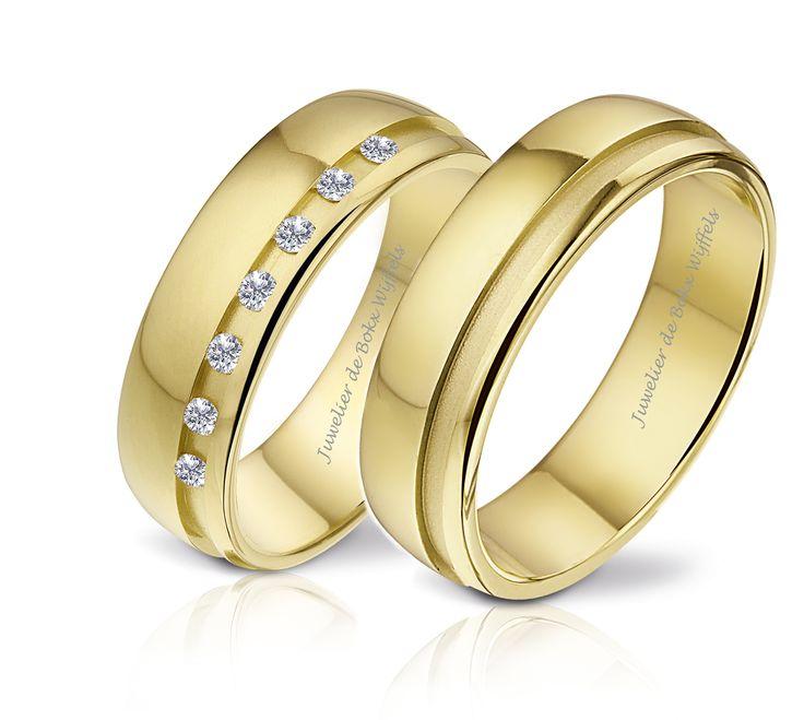 Trouwringen | de Bokx Wijffels Zeeland | Angeli di bosca trouwringen Geel gouden trouwringen met meerderen diamanten. #trouwringen #angeli #di #bosca #geel #goud #diamant #jdbw