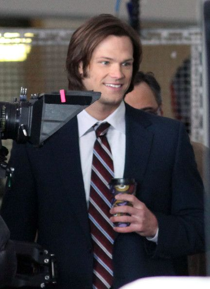 """Jared Padalecki Photos -  """"Supernatural"""" actors Jared Padalecki and Jensen Ackles kept warm with a cup of coffee as they strolled around the set of their show on a snowy day in Vancouver, British Columbia, Canada on January 16, 2012. Jenson enjoyed blowing bubbles as he work on the multi-storey car park set. - Jared Padalecki And Jensen Ackles Fight The Cold Weather For Their Show"""