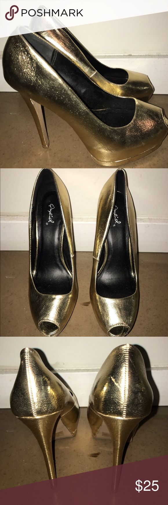 Qupid Gold Peep toe Heels Qupid Gold Peep Toe Heels. Worn twice!! Good Condition. These are either a size 7.5 or 8...will update later!! Qupid Shoes Heels