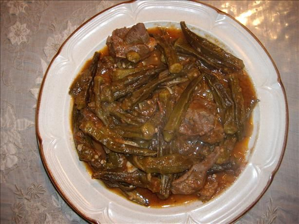 Okra Stew (Arabic Recipe)   This is a traditional Arabic recipe and is called  bamee. This dish is really delicious and very tasty. You can serve it with plain rice and pita bread. Another dish that we make frequently. We use beef stew meat rather than lamb.