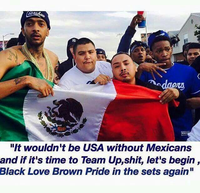 """""""It wouldn't be USA without Mexicans and if it's time to team up, shit, let's begin, Black Love Brown Pride in the sets again."""" Fuck Donald Trump!"""