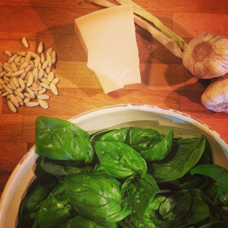 Are you ready to prepare Pesto? Some of the ingredients: basil, pecorino cheese, garlic...