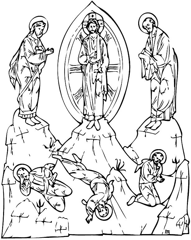 Unique Transfiguration Catholic Coloring Page