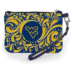 Stadium Approved University of West Virginia wristlet. Our adorable wristlet is a must have gameday accessory. Keep your cell phone handy and your ID visible as you breeze through the security gate to cheer on your team! Fits iphone 5,6 and 7. #gamedayready #shopdesden