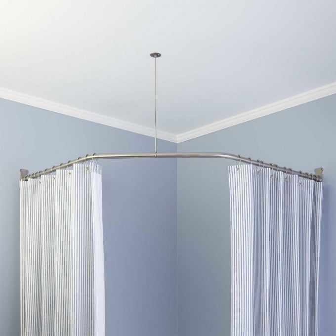 Neo Angle Shower Rod And Ceiling Support With Images Shower
