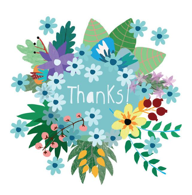 'Thank You Flowers' Square Card £2.50