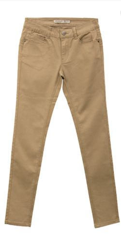 Khaki Skinny Jeans Material: 98% Cotton 2% Spandex Colors: Khaki Sizes: 1-13 Fit: Skinny