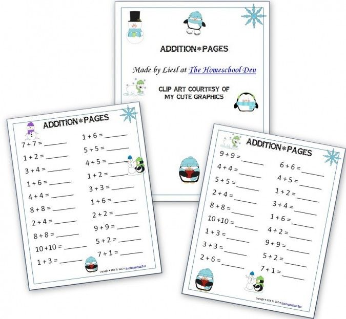 Keep your child's brain challenged on #snowdays with these free winter-themed addition printables!