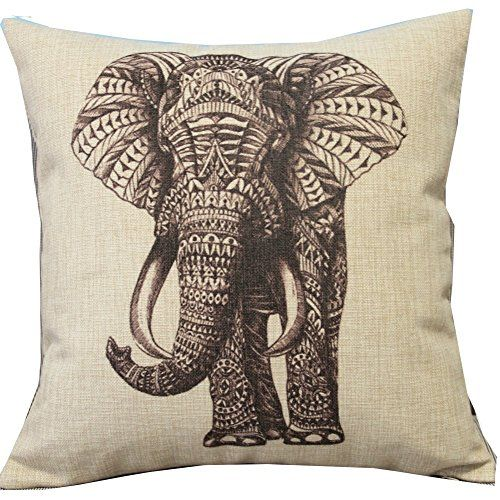 Cartoon Animal Style Abstract Elephant Throw Pillow Case Decor Cushion Covers Square 18*18 Inch Beige Cotton Blend Linen Leaveland http://smile.amazon.com/dp/B00KMMRM3Y/ref=cm_sw_r_pi_dp_aHvHub1ZNJ8B9