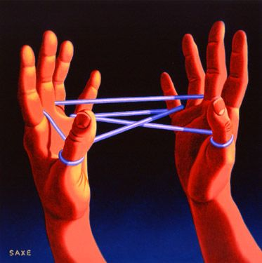 Cat's cradle. I  loved playing this. A peace of yarn or a long rubberband worked.