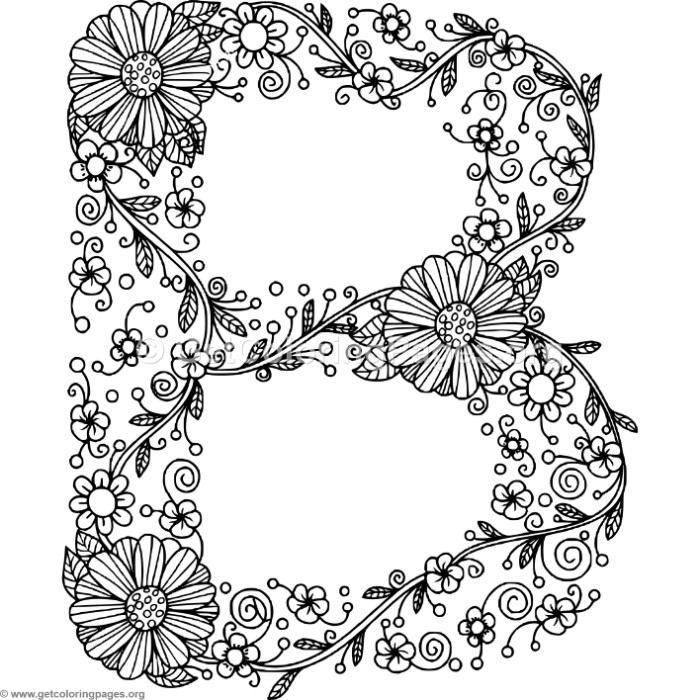 Free Instant Download Floral Alphabet Letter B Coloring Pages