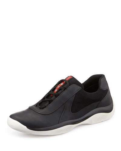 N3JJD Prada Punta Ala Leather Sneaker, Black