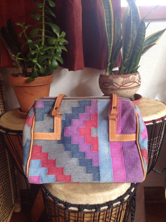 Vintage 80s Southwestern Tapestry Purse // by soulshinejewels