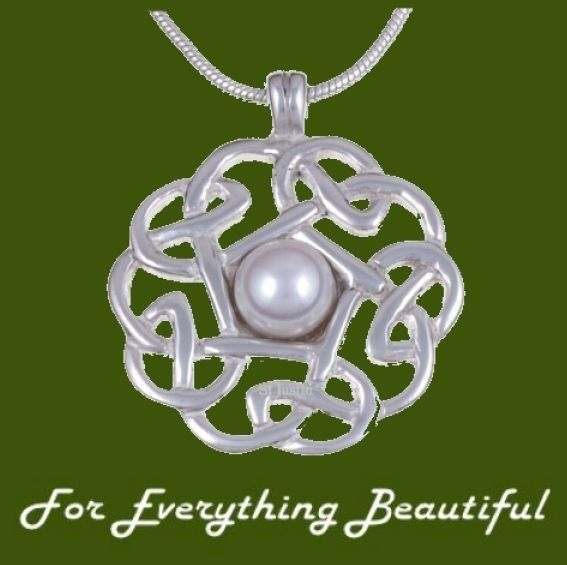 Celtic Knotwork Cultured Freshwater Pearl Stylish Pewter Pendant