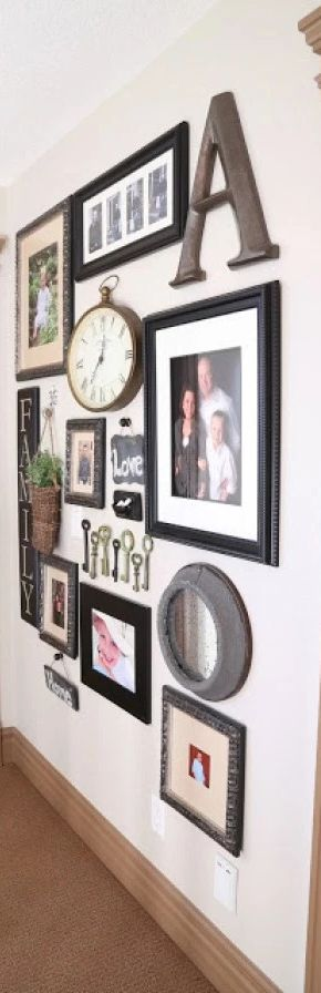 Beautiful Wall Decor. The signs, basket and greens, clock, keys, alpha...looks great! The soft basket, round clock, letters complete this wall. -------------------- #gallery #wall #home #decor #design #decoration #hallway #diy