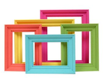 Picture Frames Bright Colors Home Decor Picture Frame Set Nursery Kids Retro Modern Wall Decor
