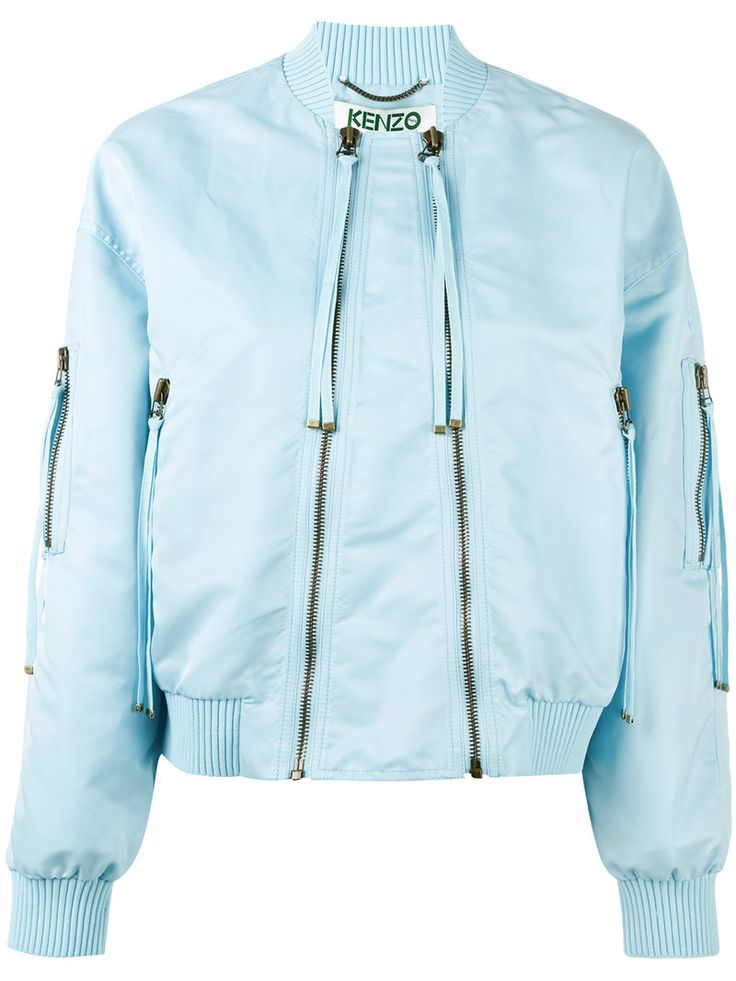 ¡Cómpralo ya!. Kenzo - Double-Zip Bomber Jacket - Women - Acrylic/Nylon/Polyamide/Spandex/Elastane - S. Sky blue double-zip bomber jacket from Kenzo featuring long sleeves, a ribbed shawl collar, two front pockets, two zip fastenings and a branded patch to the rear. Size: S. Gender: Female. Material: Acrylic/Nylon/Polyamide/Spandex/Elastane. , chaquetabomber, bómber, bombers, bomberjacke, chamarrabomber, vestebomber, giubbottobombber, bomber. Chaqueta bomber  de mujer color azul marino de…