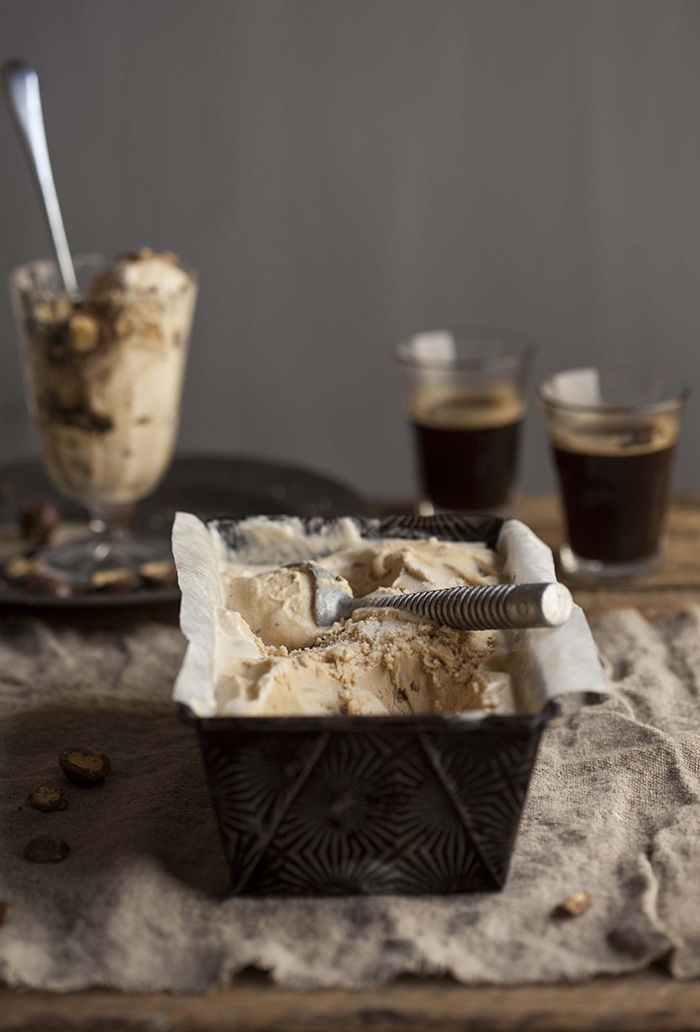 coffee tequila ice cream with smashed malted puffs