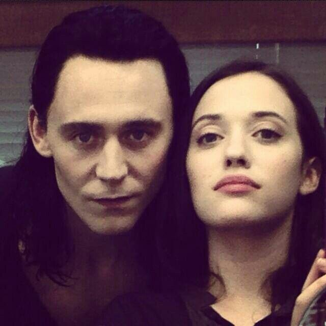Tom Hiddleston and Kat Dennings intense selfie on the set of The Avengers
