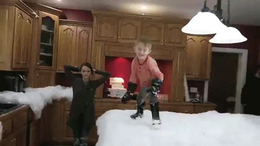 Roman Atwood filled his home with snow to surprise his family