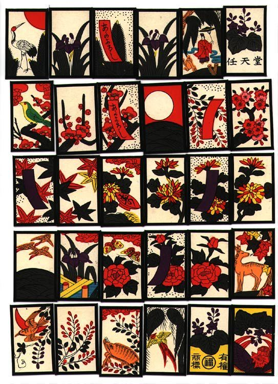 "Hanafuda (花札) are playing cards of Japanese origin that are used to play a number of games. The name literally translates as ""flower cards.""[1][2] The name also refers to games played with those cards.In 1549, the 18th year of Tenbun, a missionary Francis Xavier landed in the country and the crew of his ship had carried a set of 48 Portuguese Hombre playing cards from Europe, and eventually card games became popular with people, along with their use for gambling."